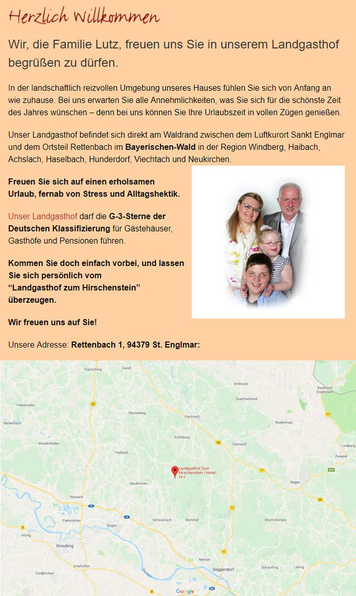 Hotel für Rettenbach - Landgasthof zum Hirschenstein: Pension, Gasthaus, Restaurant, Übernachtungen, Urlaub